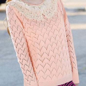 Light Pink Beaded Laced Long Sleeve Sweater