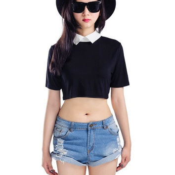 2015 Fashion Women New Summer Black Crop Top With White Shirt Collar Short Sleeveless S M L XL XXL = 1956616964
