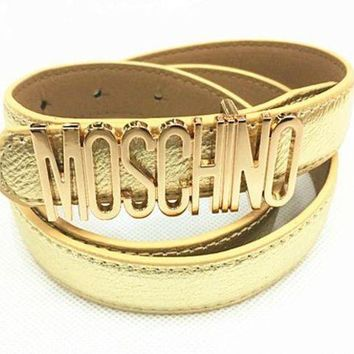 Moschino Men's And Women's Tide Brands Fashionable English Letters High Quality Belt Fashion Wild Candy F