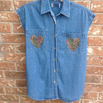 Denim sleeveless shirt//indie // hipster // grunge // heart patch //sequin patch