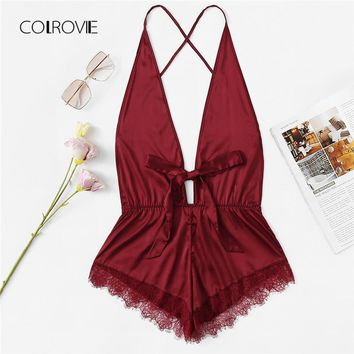 COLROVIE Red Sexy Contrast Lace Deep-V Criss Cross Teddy Pajamas 2018 New Summer Wireless Women Nightgowns Bow Tie Sleepwear