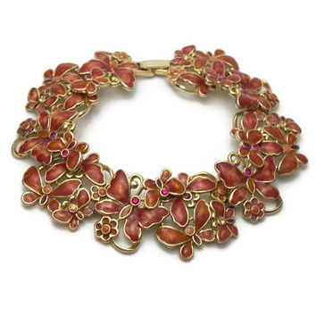Vintage Monet Enamel Butterfly Floral Bracelet - Gold Tone Orange Sienna Brown Enamel - Purple & Champagne Crystal Rhinestone Accents