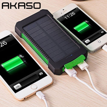 AKASO Waterproof Solar Power Bank 10000mah Dual USB Li-Polymer Solar Battery Charger With a Compass
