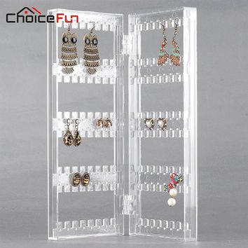 CHOICEFUN Girl 2 Door Home Desk Transparent Acrylic Holder Hanging Stand Organizer Clear Jewellery Earring Storage For Jewelry