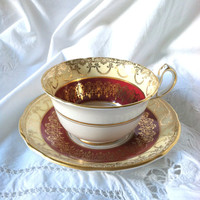 Antique English Royal Stafford Elegant Tea Cup and Saucer/Made in England Fine Bone China/Christmas Tea Party