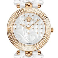 Versace 'Vanitas' Baroque Pattern Leather Strap Watch, 40mm