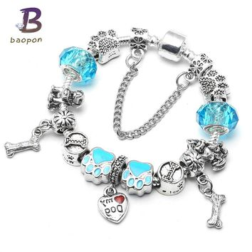 BAOPON Blue Color Lovely Dog Bones Pendent Charms Bracelets For Women With Nice Glass Beads Pandora Bracelet Fashion Jewelry