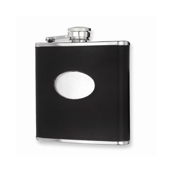 Black Faux Leather Stainless Steel Hip Flask - Engravable Personalized Gift Item