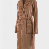 Loose Women&Men Coral Fleece Long Night-robe Sleepwear Shawl Collar Bathrobe Spa