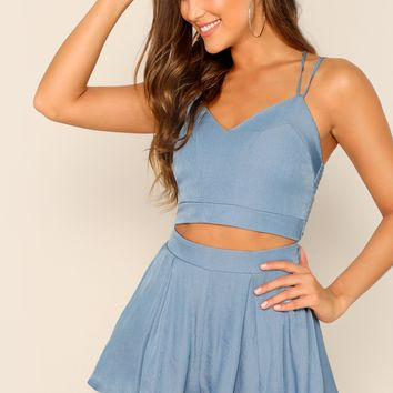 Zip Back Strappy Top & Culottes Skirt Set