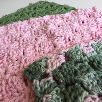 Crochet Dishcloths, Cotton Dishcloths, Pink, Green, Kitchen Dishcloths,  Crochet Washrag