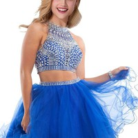 Babyonline Two Pieces Royal Blue Homecoming dress ,Rhinestones Halter Short Prom Gown ¡