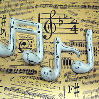 Musical Notes Cast Iron Wall Decor Set Symbols Shabby Style Chic White Quarter ( Crotchet ) Eighth ( Quaver ) Ottava Octave Symbol Note