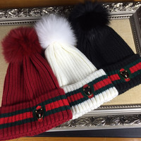GUCCI Knit And Pom Hat Cap