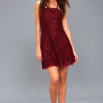 La Belle Vie Burgundy Lace Backless Skater Dress