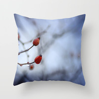 Red drop. Autumn dreams Throw Pillow by Guido Montañés
