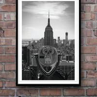 POSTER New York photograph, Empire State Building, Black and White Photograph, Wall Decor, Homeware