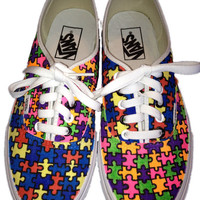 Puzzle piece vans shoes. These are a pair if mis-matched shoes, I can make them match if you want