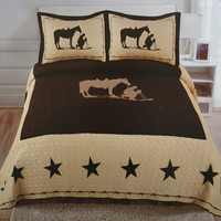 Cowboy & Horse Western 3 Piece Bedding Set