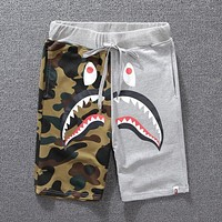 Bape Aape Trending Unisex Casual Camouflage Shark Mouth Print Shorts Grey I12036-1