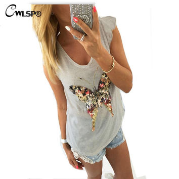 CWLSP Fashion T shirt  Bling Sequined 3D Butterfly V-Neck Petal Sleeve Camisetas Mujer Casual Tee Shirt Femme QA1314