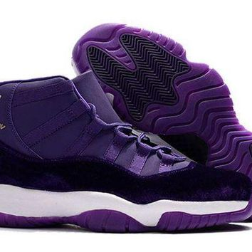 PEAPONVX Jacklish 2017 Air Jordan 11 Purple Velvet/white-gold Cheap For Sale