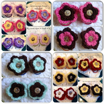 Hand Crochet Flower Hair Ties- Pony Tail Holders- pick Four Pair MANY COLORS