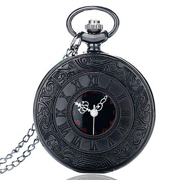 Antique Half Hunter Roman Numbers Quartz Pocket Watch Carving Engraved Fob Clock Men Women Gift With Necklace