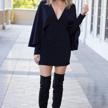 Catalina Navy Long Sleeve Cape Dress