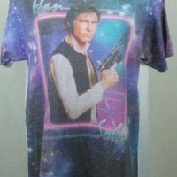 Star Wars Han Solo Womens Graphic T Shirt Top Size X Small White Purple JARFF