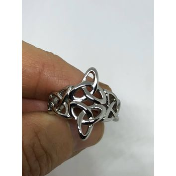 Vintage 1970's Celtic knot stanless sreel band Ring