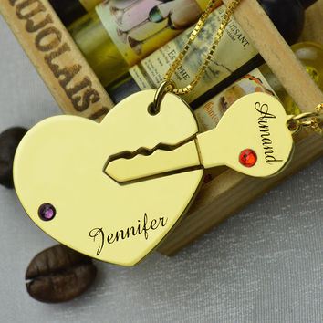 Key To My Heart Couples Name Necklace Set Gold Engraved Birthstone Heart and Key Initials Necklace BFF Necklace Love Jewelry