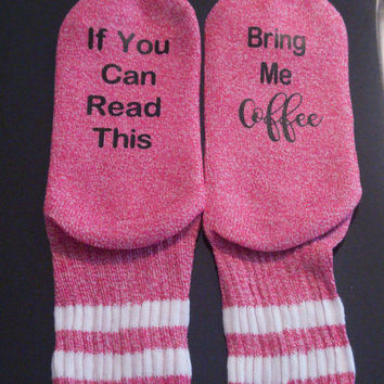Coffee socks - bring me coffee socks - funny socks -coffee lover gift - stocking stuffer - coworker gift