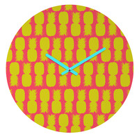 Allyson Johnson Neon Pineapples Round Clock