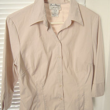 Woman's fitted beige shirt blouse size petite medium, button office shirt blouse,like new gently used,polyester & spandex,sexy shirt blouse.