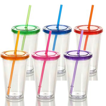 Qsip 6-Pack BPA Free Double Wall Clear To Go Cup with Straw and Lid (16 oz, color)