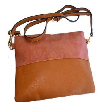 Leather and Suede Clutch with Strap - Brown