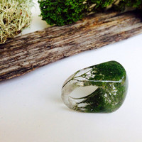 Preserved Trachelium and Moss Forest Terrarium Eco Resin Ring size 7. Organic, Botanical, Beautiful Nature Statement Jewelry Love