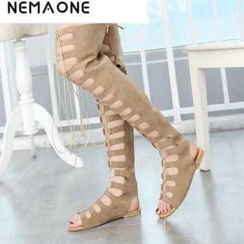 2017 new fashion gladiator women summer boots ladies flats sexy knee high boots leather casual shoes woman black summer shoes