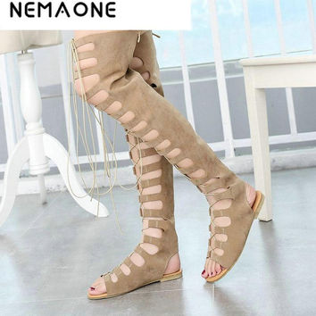 NEMAONE 2017 new fashion gladiator women summer boots ladies flats sexy knee high boots leather casual shoes woman summer shoes