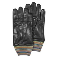 Paul Smith Striped Cuff Wool and Leather Men's Gloves