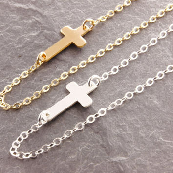 Sideways Cross Necklace, gold cross, silver cross, sterling cross, religious necklace, simple cross, minimalist, modern necklace, N14