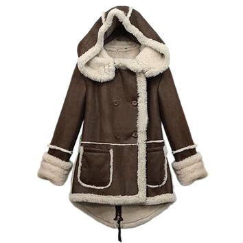TFGS Women Winter Warm Thicken Fleece Lapel Parka Wool Coat Hooded Outwear Jacket