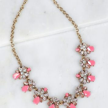 Multi Stone Necklace Pink