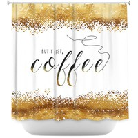 Shower Curtains By Zara Martina But First Coffee Gold