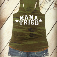 MAMA TRIED with stars -- Country Gal -- Racerback, Eco-Jersey Camo Tank Top- Sizes S-XL.