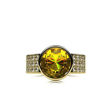 2.48ct Yellow sapphire engagement ring, diamond ring, wide engagement, unique, bezel, sapphire, pave, yellow gold, white gold, rose gold