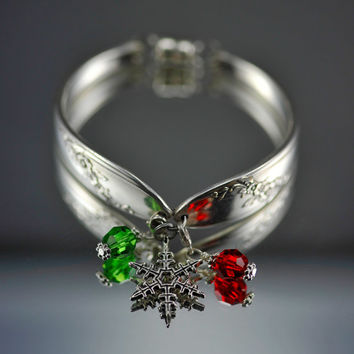 "Vintage Silver Plated ""Queen Bess"" Flatware/Silverware/Spoon Bracelet With Snowflake Charm and Red And Green Bangles"