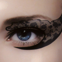 Black Rose Lace Eye Liner Temporary Tattoo Set Gothic Makeup