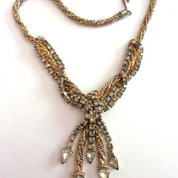 Gray Rhinestone Dangle Necklace, JEWELS BY JULIO, Gold Plated, Fringe, Vintage